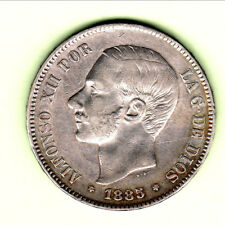 ESPAGNE ALFONSO XII 5 PESETAS 1885 RARE ETAT