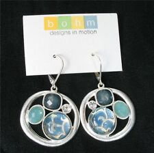 BOHM Drop Earrings CITY CHIC Vintage Silver Blue Cabochons Grey Swarovski BNWT