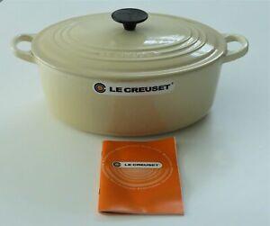 Le Creuset Cast Iron Oval Casserole 29 cm Almond/ Cream New