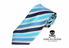 Lord R Colton Basics Tie - Aqua Blue Gray Woven Stripe Necktie - $59 Retail New