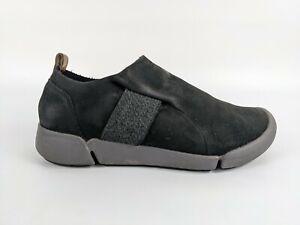 Clarks Trigenic Black Nubuck Leather Slip On Shoes Uk 4 D Eu 37