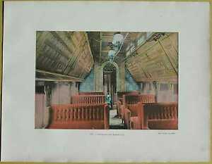 ca.1895 French photochrom CANADIAN PACIFIC RAILWAY: INTERIOR OF SLEEPING CAR