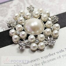 50 X WEDDING INVITATION PEARL RHINESTONE EMBELLISHMENT BUCKLE CLUSTER BROOCH 1