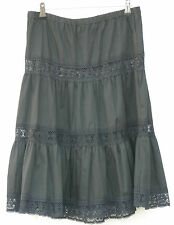 Black-Full Skirt with Lace Insets-Made in Mexico~Perfect for a Party or Waitress