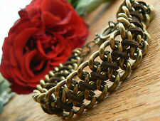 Vintage Jewellery Chain Dull Gold Bracelet leather chunky bronze