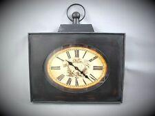 Wanduhr ECKIG Batterie Eisen Metall Geschenk Antik Deko Vintage Art Deco Stil
