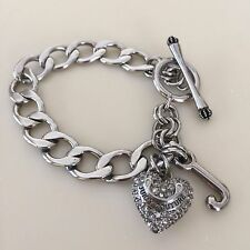 JUICY COUTURE AWESOME Silver Starter BRACELET with Pave HEART!! Exquisite!! Read