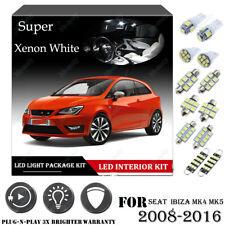 10PCS For SEAT IBIZA MK4 MK5 2008-2016 White Car Interior LED Light Package Kit