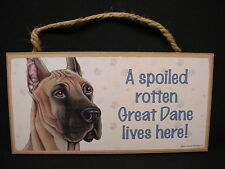 Great Dane A Spoiled Rotten Dog Picture Art Sign wood Wall hanging Plaque puppy