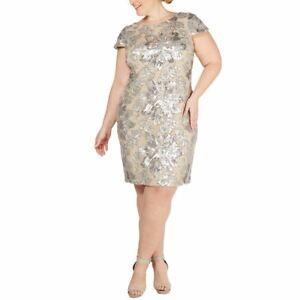 CALVIN KLEIN NEW Women's Plus Sequined Cowl-back Mesh Sheath Dress 22W TEDO