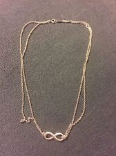TIFFANY & COMPANY STERLING SILVER INFINITY DOUBLE STRAND NECKLACE FIGURE 8 CUTE