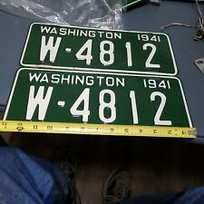 1941 Washington License Plate W - 4812 Restored Nice Original Pair