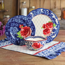12 PIECE DINNERWARE SET PLATES Dishes Bowls Heritage Floral Pioneer Woman Blue