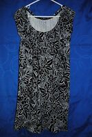 Women's SONOMA Black White Floral Knit Dress Size S