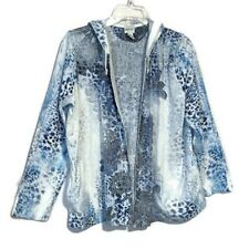 Chico's Zenergy Size 2 Large Hoodie Open Front Floral Paisley Open Front Jacket