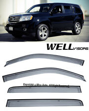 For 09-15 Honda Pilot Smoked Window Visors Rain Guard WellVisors