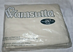 Vtg Wamsutta CALIFORNIA KING FITTED No Iron Ultra are Sheet 180 Percale USA New