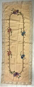 Great Antique Arts & Crafts Period Embroidered Linen Table runner Crochet Border