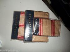 RARE Ralph Lauren Jardinere Bertrand Red Stripe Cotton Sateen Queen Sheet Set