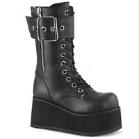 Demonia PETROL-150 Men's Black Punk Goth Platform Zip Lace-Up Mid-Calf Boots