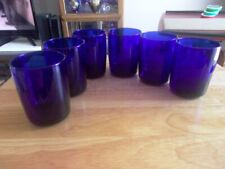 "Cobalt Blue 6 Libbey Juice Glasses  3-1/2"" Tall"