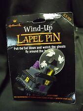 "Vintage Hallmark Halloween ""Ghost Fly Around House"" Wind-Up Pin MOC 3"""