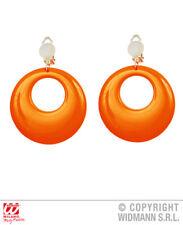 Orecchini a cerchio arancio fluo 80 S 90 S Party Rave Costume Gioielli Accessorio