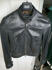 Dolce & Gabbana D&G Leather Jacket Black  Leopard Lining Small