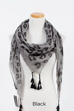 Women's Square Scarf Soft Wrap Multi Scale Leopard Print with Tassels Black Gray