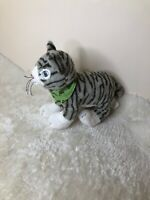 "Ikea Lillen grey white striped cat kitten kitty soft plush stuffed toy 10"""