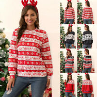 Women Christmas Round Neck Sweater Print Casual Pullover Tops Winter Outwear New