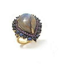HSN Rarities GEMSTONE Black Spinel and Rhodolite Vermeil Ring Size 10