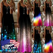 Women Boho Floral Strappy Sleeveless Dress Ladies Summer Beach Casual Maxi Dress
