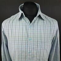 Wrangler Mens Casual Shirt MEDIUM Long Sleeve Blue Regular Fit Check Cotton