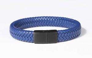 Leather Bracelet Waterproof Cowhide 316L Stainless Brushed Steel w/ FREE ENGRAVE