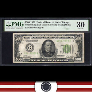1928 $500 CHICAGO FRN FIVE HUNDRED DOLLAR BILL  PMG 30  Fr 2200-Gdgs  G00170858A