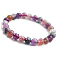 Natural Colorful Cacoxenite Auralite 23 Round Beads Healing Bracelet 7mm AAA