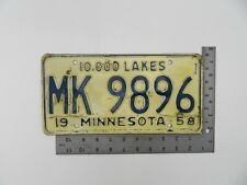 Vintage 1958 Minnesota licence plate, Collector, Dmv, rare,10000 lakes H437