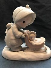 Precious Moments 1987 January 109983 S. Butcher Sleigh Baby Snow