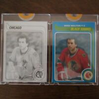 Pair 1979-80 Topps Vault MIKE WALTON 141 CHICAGO NHL Hockey Proof Cards COA Rare