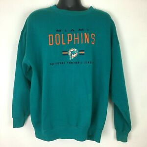 90s Vintage Miami Dolphins Sweatshirt XL Blue Aqua NFL Football Embroidered Logo