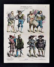 1880 Braun Costume Print 16th c. German Military Dress Soldier Officer Mercenary