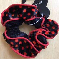 A Black And Red Spot Velvet Ruffle Scrunchie Ponytail Band / Bobble