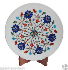 "12""x12"" Marble Serving Plate Lapis Hakik Inlaid Arts Outdoor Decor Gifts H1341"