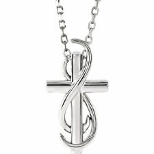 """Cross 16-18"""" Necklace In 14K White Gold"""