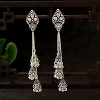 Women's Bell Gypsy Gemstone Tassel Bead Jhumka Indian Charm Drop Tassel Earrings