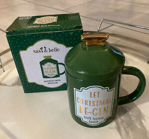 Sass & Belle 'Let CHRISTMAS BE-GIN' Novelty Mug With Lid - New
