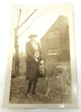 Vintage 1920s photograph woman with lovely English Fox Hound dog
