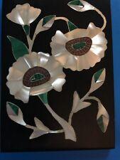 Vintage Italian Pietra Dura Gemstone Inlayed Plaque Flowers �