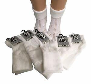 Girls 6 Pair Turn over Top Ankle Socks Pelerine school sizes White   BUY BRITISH